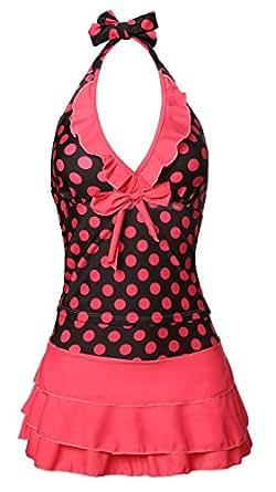 MiYang Women's Halter Polka Dot Tankini Swim Dress(Rose Red XS)