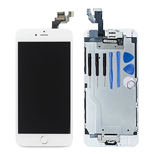 For iPhone 6 Digitizer Screen Replacement White - Ayake 4.7 Full LCD Display Assembly with Home Button, Front Facing Camera, Earpiece Speaker Pre Assembled and Repair Tool Kits