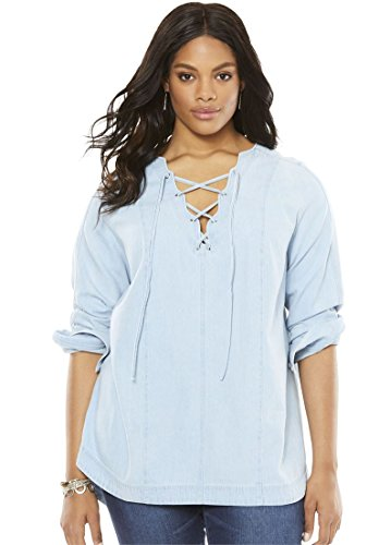 Double Placket (Women's Plus Size Denim Lace Up Tunic Bleached Blue,20 W)