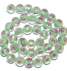 Steven_store G3533 Green & Silver Foil Lined w Pink Rose 10mm Round Glass Beads 15