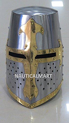 NAUTICALMART Medieval Knight Templar Crusader Helmet Armor w/Mason's Cross