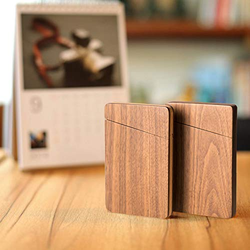317e3dbf26a8 MaxGear Wood Business Card Holder Wood Business Card Case Slim Business  Card Wallet Card Carrier with Magnetic Closure - Walnut & Beech