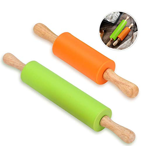Silicone Rolling Pin - Dough Roller for Pizza, Cookie with Wooden Handle & Nonstick Surface - 2 Pack Rolling Pins for Baking (Mini & Large - Roller Wooden Pizza