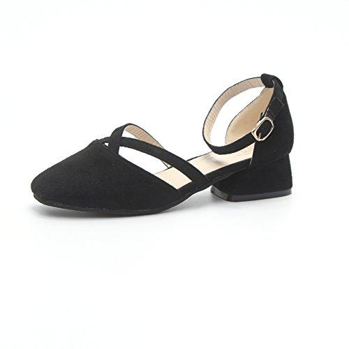 Couleur d'épaisseur Pure Moyens Chaussures des Unique avec Talons Femmes Sandales d'été Baotou Black de 7S6SqPI