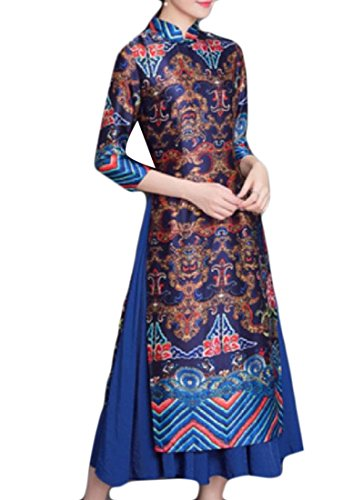 Abetteric Womens Chinese Style Elegant Big Pendulum Chinese Style Frock Gown Long Dress for cheap