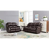 GTU Furniture Bonded Leather Double Recliner Reclining Sofa and Loveseat, Living Room Furniture Set