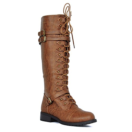 Women's Knee High Riding Boots Lace Up Buckles Winter Combat Boots Tan 7 by WestCoast