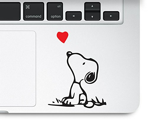 Snoopy Love Humor Red Heart Macbook Trackpad Decal Vinyl Sticker by Sticker and Decal