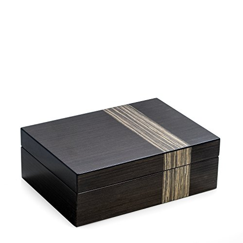 Time Factory AJ-BB677GRY Lacquered Ash Wood Valet Box wit