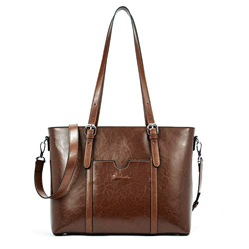 BOSTANTEN Women Leather Laptop Shoulder Handbag Vintage Briefcase 15.6