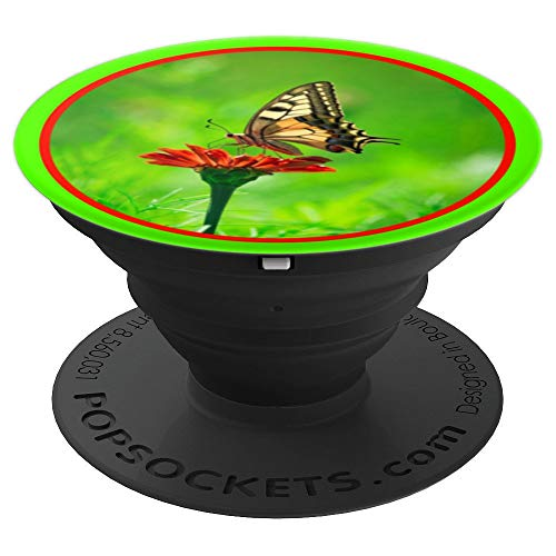 (Red Flower Yellow Butterfly Green Grass Nature Garden Photo - PopSockets Grip and Stand for Phones and Tablets)