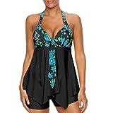 iLH Lightning Deals Plus Size Swimsuit,Womens Sexy Halter Floral Print Swimwear Tankini Bathing Asymmetric Swimdress (XXXL, Black)