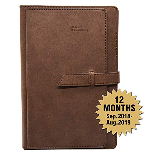 (Daily Calendar Planner Sep. 2018 Through Aug 2019,Monthly Bullet Journal Organizer with Card Slots Pen Holder,A5 Faux Leather Cover,320 Beige Pages,Dated,Perfect for Use in Academic Year(Brown))