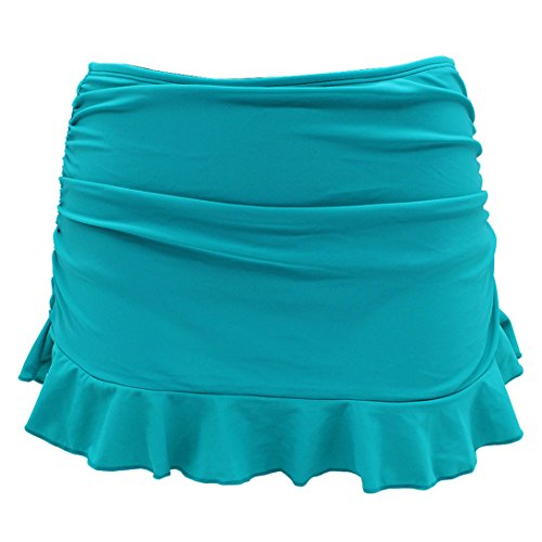 SHEKINI Women's Swimdress Swimsuit Built-in Swim Bottoms Shirred Ruffle Skirt Bikini Bottoms (Large/(US 12-14), Turquoise)