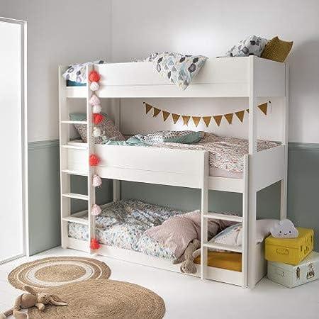 Alfred & Compagnie - Juego de litera triple y colchón (90 x 200 cm), color blanco: Amazon.es: Hogar