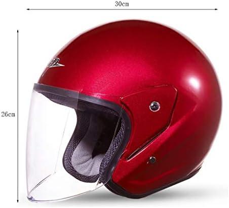 NJ ヘルメット- 電動二輪車のヘルメットの男性と女性の四季HDの防曇ハーフカバーヘルメット (色 : 赤, サイズ さいず : 30x26cm)