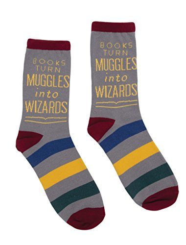 Out of Print Unisex Books Turn Muggles into Wizards Socks Large
