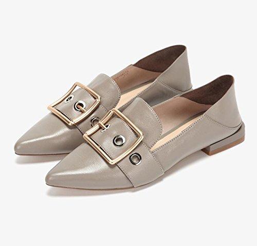 de Chancleta del del Zapatos personalidad acentuados planos cómoda metal Camel ocasionales la holgazán femeninos HYwf61wqax
