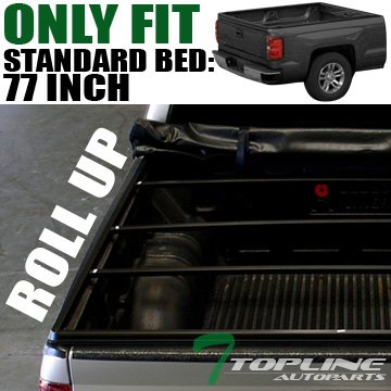 Topline Autopart Roll Roll-Up Soft Truck Bed Topper Cap Vinyl Tonneau Cover 97-04 Dodge Dakota Regular Standard Club Extended Cab Fleetside 6.5 Ft 78