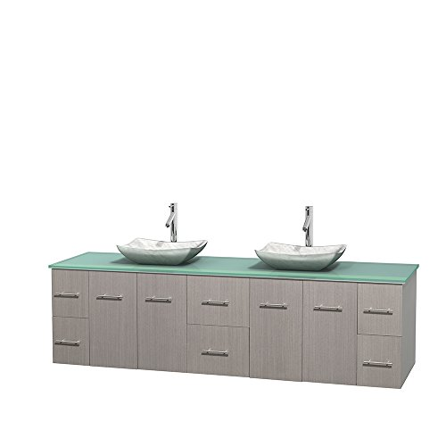 "UPC 700161134230, Wyndham Collection 80"" Double Bathroom Vanity in Gray Oak, Green Glass Countertop, Avalon White Carrera Marble Sinks, and No Mirror"