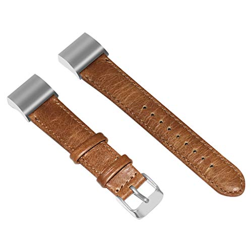 AHAYAKU Luxury Leather Wristband Strap Replacement Bands For Fitbit Charge 2