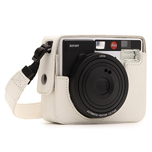 MegaGear MG1298 Ever Ready Leather Camera Case, Bag, Protective Cover for Leica Sofort Instant, White