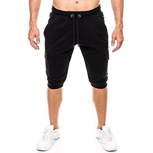 Spbamboo Mens Casual Shorts Pockets Elastic Waist Solid Slim Fit Sport Pants by Spbamboo (Image #1)