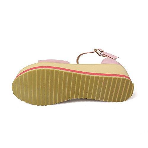 Amoonyfashion Dames Pu Kitten Hakken Open-teen Solide Gesp Sandalen Roze