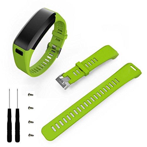 Alonea Fashion Sports Silicone Band Strap Bracelet + Tool For Garmin Vivosmart HR (Green)