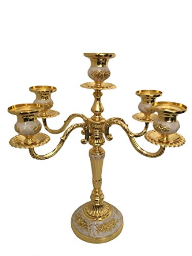 - European Style Classic Alloy Candlestick Candelabra for Wedding Dinner Party(Golden,5 Stands)