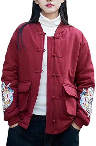 SOWTKSL Womens Chinese Style Print Button Down Retro Outwear Jacket Coat