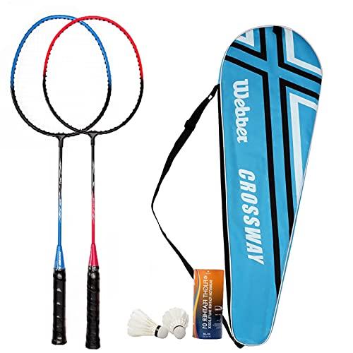 Badminton Rackets Set for Beginner Player Badminton Racquets Set Including Double Badminton Racquets Two Birdie…