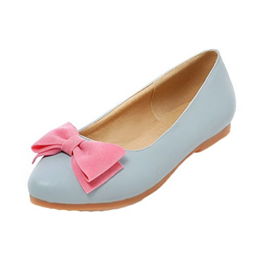Allhqfashion Mujeres Pu Pull-on Low-heels Solid Bombas-zapatos Azul