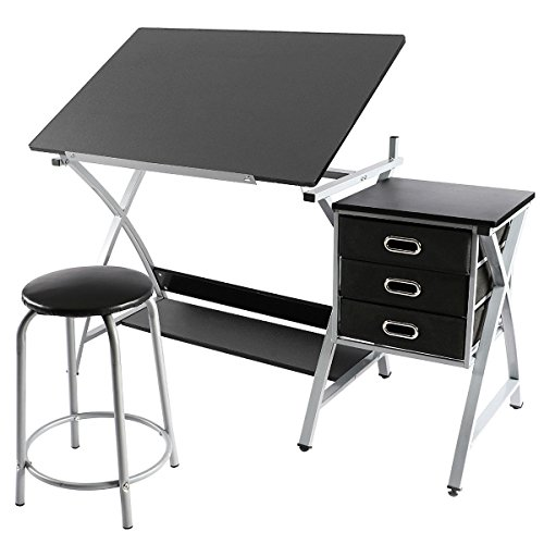 Adjustable Drafting Table Drawing Station Desk Board Storage Drawers Art Design Architect Hobby Craft Table Computer Desk w/ Stool