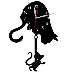 The Geeky Days Cat And Mouse Swinging Pendulum Wall Clock Curious Cat Mouse Watch Time Clock Modern Design Home Decor For Cat Lover Gift