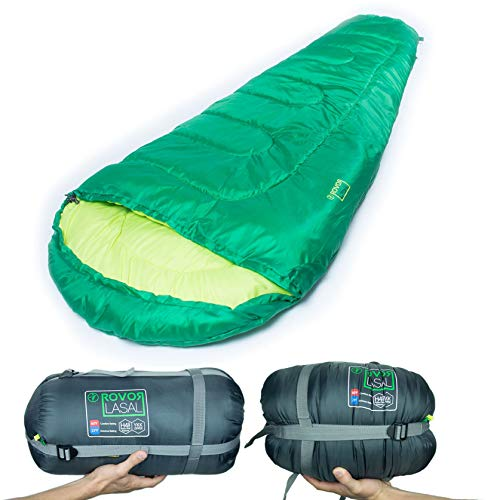 Rovor Lasal 60 Degree Kids Sleeping Bag with Included Stuff Sack | the Lasal Youth Sleeping Bags have a 60 Degree Comfort Rating Which Make it a Great Summer Sleeping Bag by Rovor