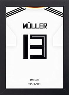 Frame Company Camiseta de fútbol de la Copa del Mundo, enmarcada en Madera con Vidrio