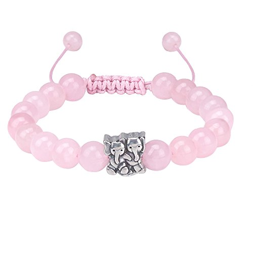 Jeka Pink Crystal Elephant Charm Bracelet Cute Natural Stone for Women Girl Adjustable Birthday Gift (Personalized Semi Precious Mothers Bracelet)