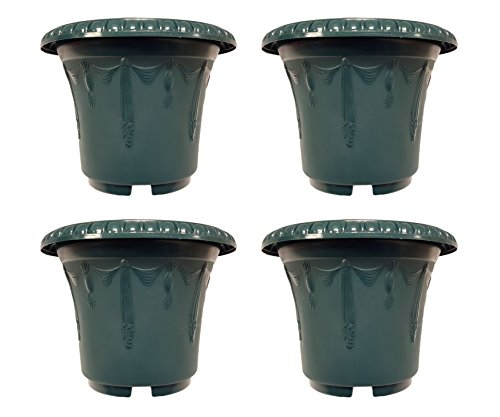 set-of-4-round-emboss-draping-decorative-95-x-75-planters-pots-green