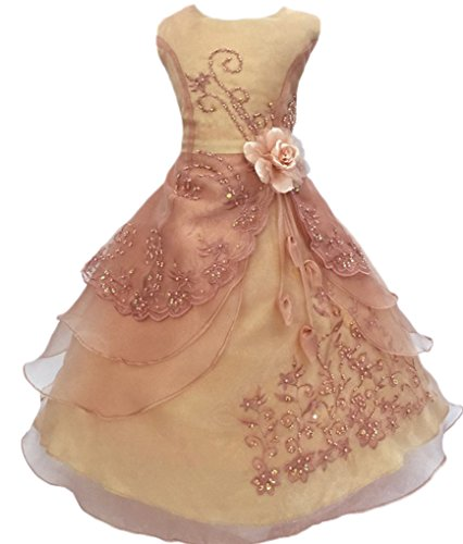 (Shiny Toddler Big Girls EmbroideCopper Beaded Flower Girl Birthday Party Dress with Petticoat 9t-10t,Copper)