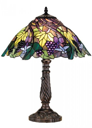 Meyda Tiffany 82303 Spiral Grape Table Lamp, 22