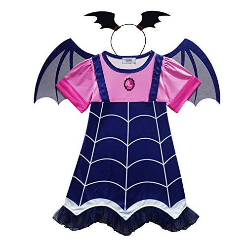 Ruimin 1 Set Girls Halloween Cosplay Vampire Costume Cartoon Dress + Hair Band + Wing