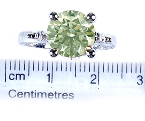 RINGJEWEL 2.78 ct VS1 Round Silver Plated Moissanite Engagement Ring Off White Light Green Color Size 7 by RINGJEWEL (Image #1)