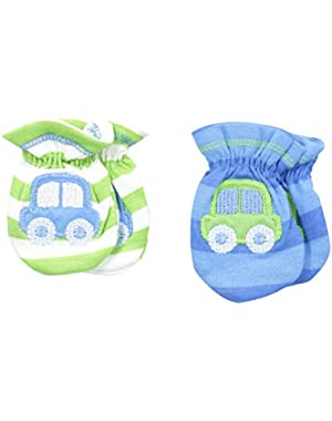Baby Boys' Car-Themed 2 Pack Mittens
