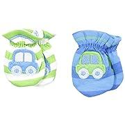 Gerber Baby-Boys Newborn 2 Pack Mittens Cars, Blue, 0-3 Months