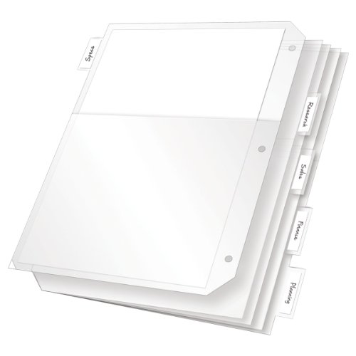 Back Tab Insert (TOPS Cardinal Poly Ring Binder Pockets, 5 Tab, Double Pocket, White, (84010CB))