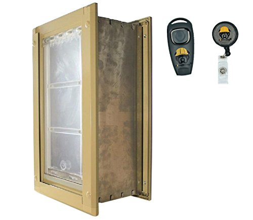 eXtreme Dog - Endura Flap Medium (Tan) Wall Mount - Double Flap 8'' x 14'' Pet Door with FREE Dog Training Clicker Bundle by Extreme Dog Fence