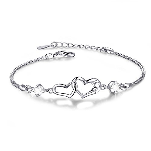 Double Heart Adjustable S925 Sterling Silver Crystal Interlocking Bracelet ,More Women Girls Girlfriend Prefer to Wear This Bracelet Everyday,Gift for Her Birthday Back to School Gift for Her Teacher by ANGELFLY