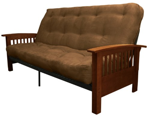 Brentwood Mission-Style 8-Inch Loft Inner Spring Futon Sofa Sleeper Bed, Queen-size, Walnut Arm Finish, Microfiber Suede Chocolate Brown (Chocolate Queen Sleeper)