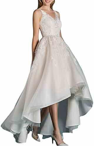 ac9451d56c0 Yilian 2018 Women s High Low Wedding Dress for Bride Beach Lace Organza Bridal  Gowns